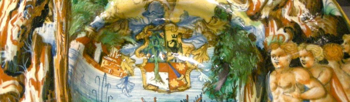 """Immagine del piatto di maiolica urbinate raffigurante """"Diana con le Niobidi"""""""