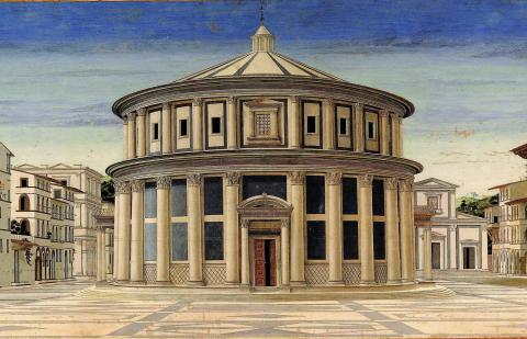 Immagine del particolare della Città Ideale dipinto di Piero della Francesca