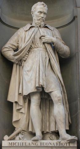 Immagine della statua raffigurante Michelangelo a Firenze
